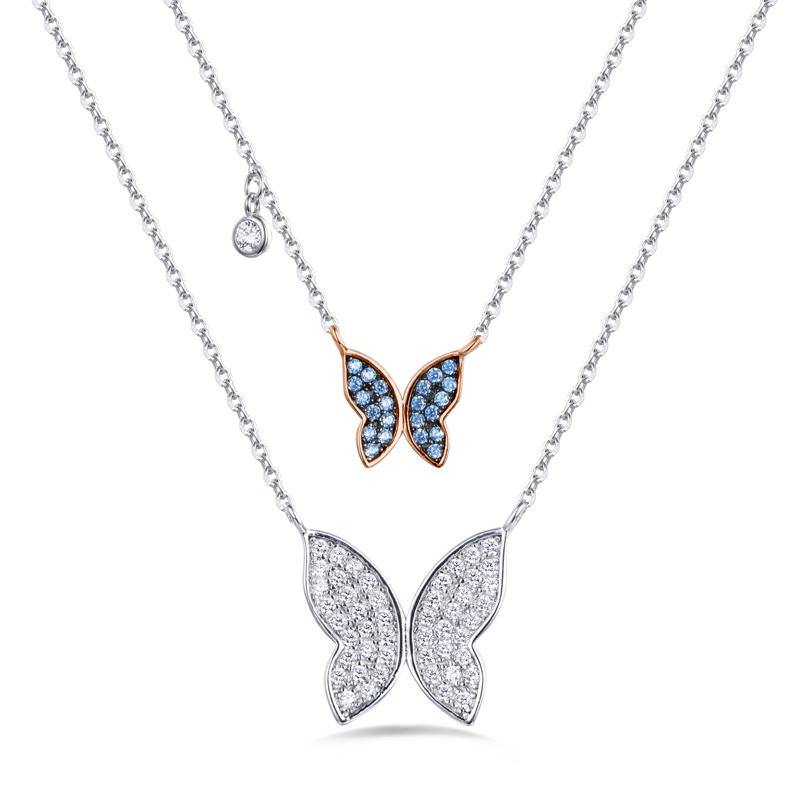 Azure Double Butterfly Necklace - Euro Sparkles