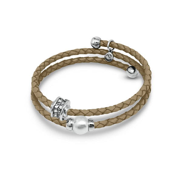 Eclat Double Leather Pearl Bracelet