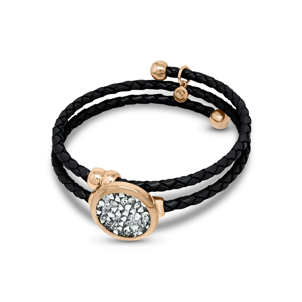 Eclat Druzy Quartz Double Leather Bracelet - Euro Sparkles