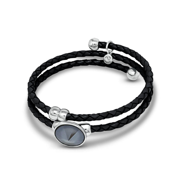 Bella Black Leather Bracelet - Euro Sparkles