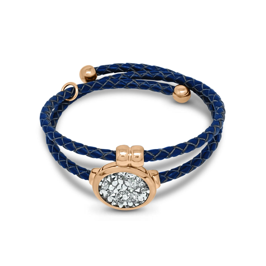 Eclat Druzy Quartz Double Leather Bracelet