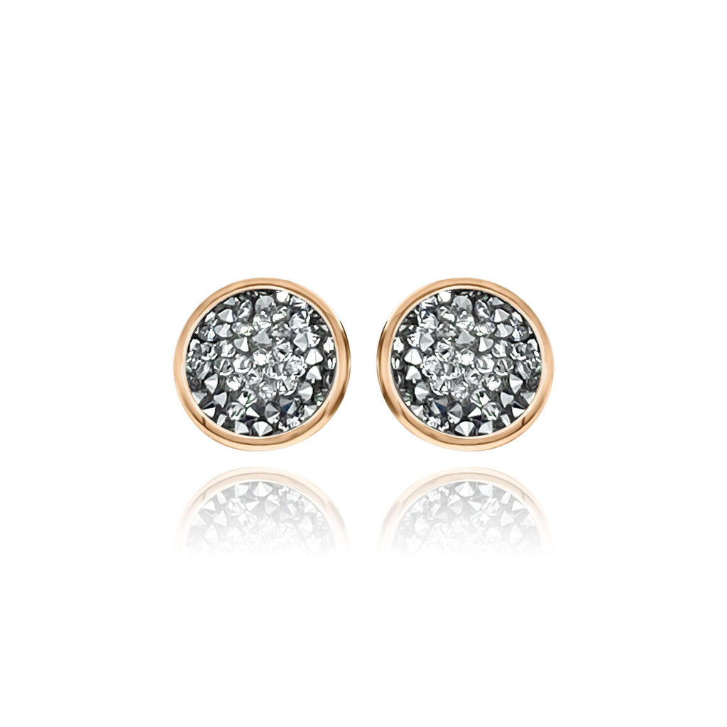 Eclat Rose Gold Druzy Quartz Stud Earrings - Euro Sparkles