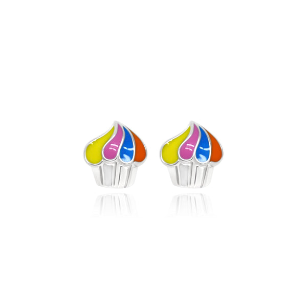 Baby Colorful Cupcake Stud Earrings - Euro Sparkles