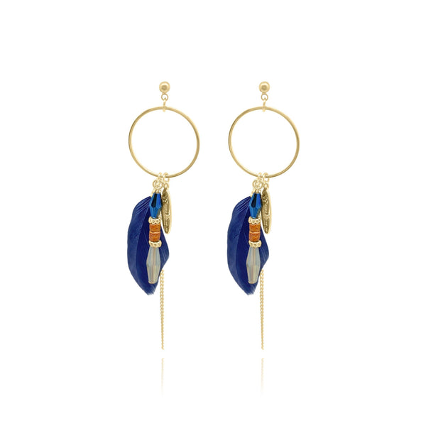 St. Tropez Loops Feather Beeds Earrings - Euro Sparkles