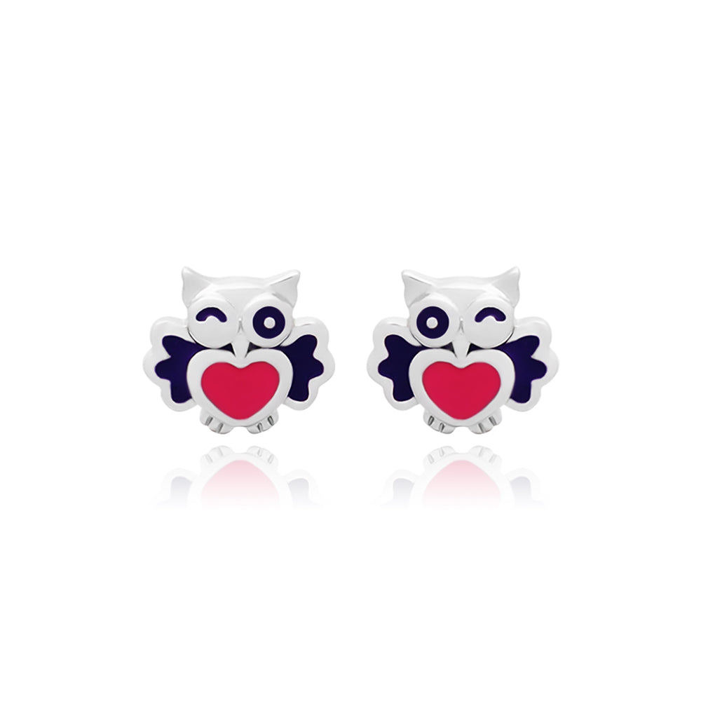 Twinkling Baby Owls Stud Earrings