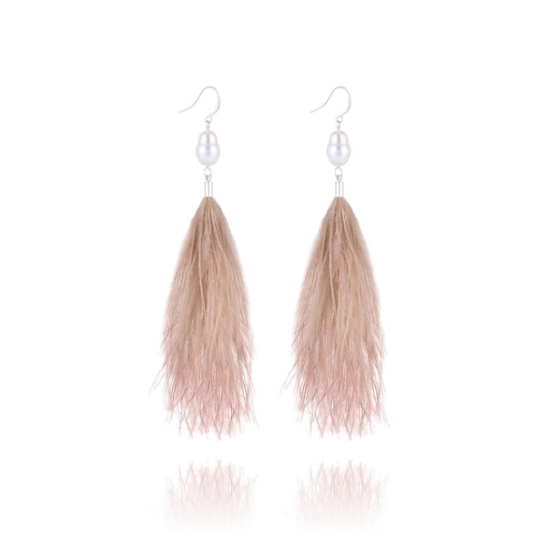 St. Tropez Pearl Feather Earrings - Euro Sparkles