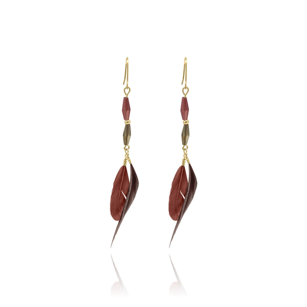 St. Tropez Feather Beeds Earrings - Euro Sparkles