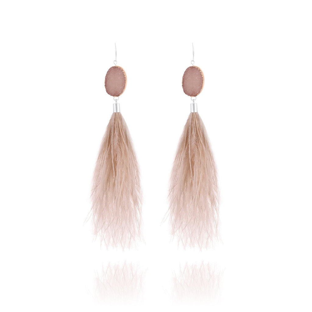 St. Tropez Feather Druzy Earrings