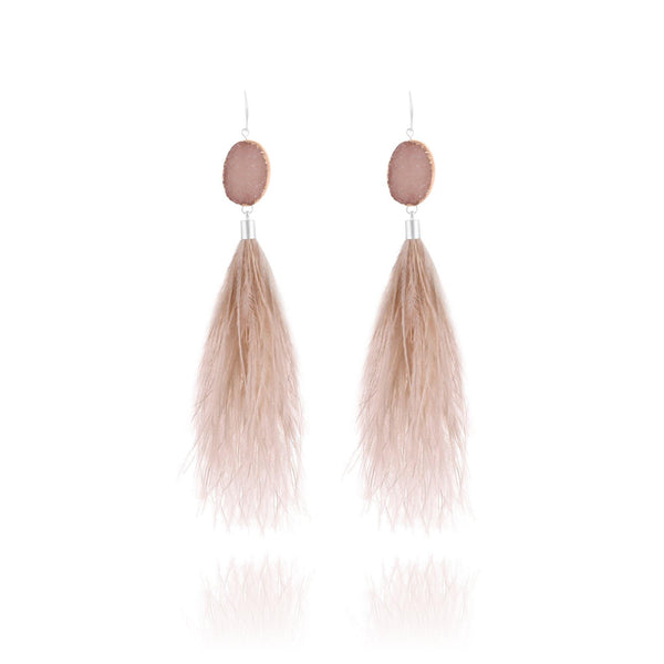 St. Tropez Feather Druzy Earrings - Euro Sparkles