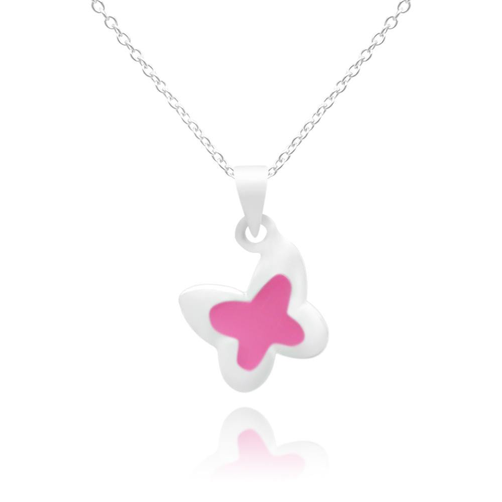 CC Pink Baby Butterfly Stud Necklace - Euro Sparkles