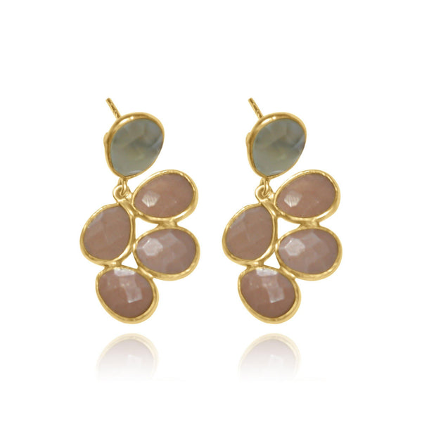 Hidden Treasure Peach Moonstone Earrings