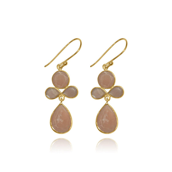 Hidden Treasure Peach Moonstone hook Earrings - Euro Sparkles