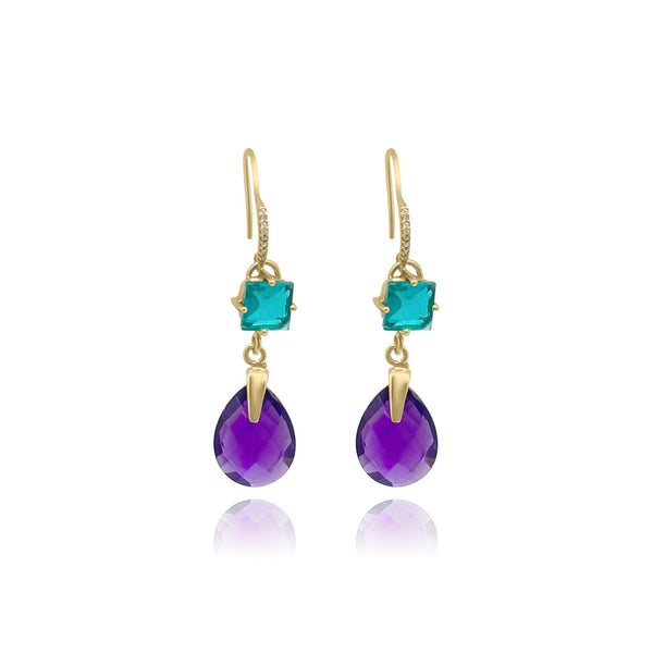 Hidden Treasure Aqua Amy Princess Earrings - Euro Sparkles