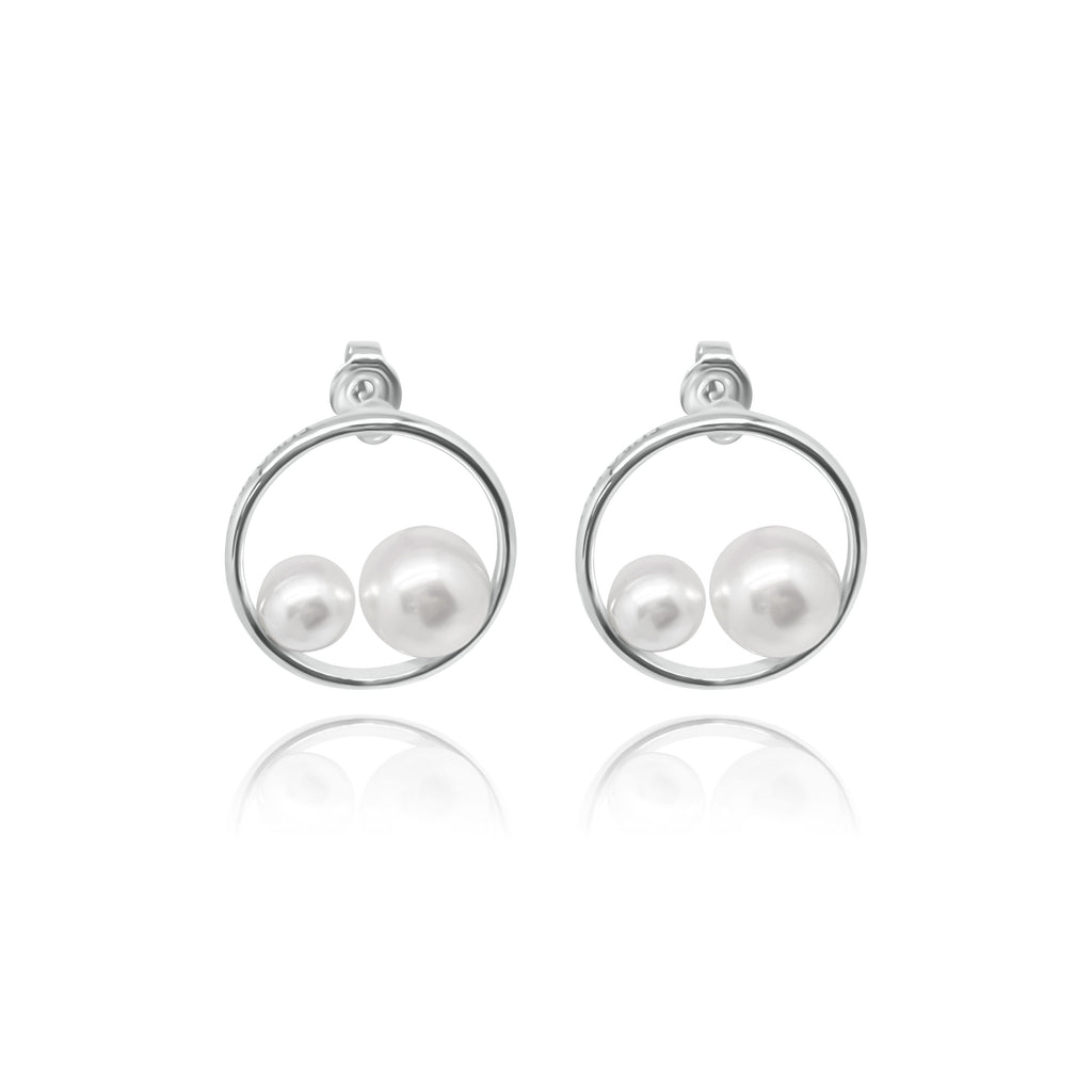 Firenze Round Pearl Earrings
