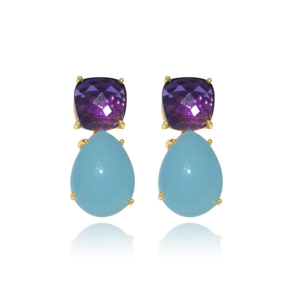 Hidden Treasure Aqua Amy Earrings - Euro Sparkles