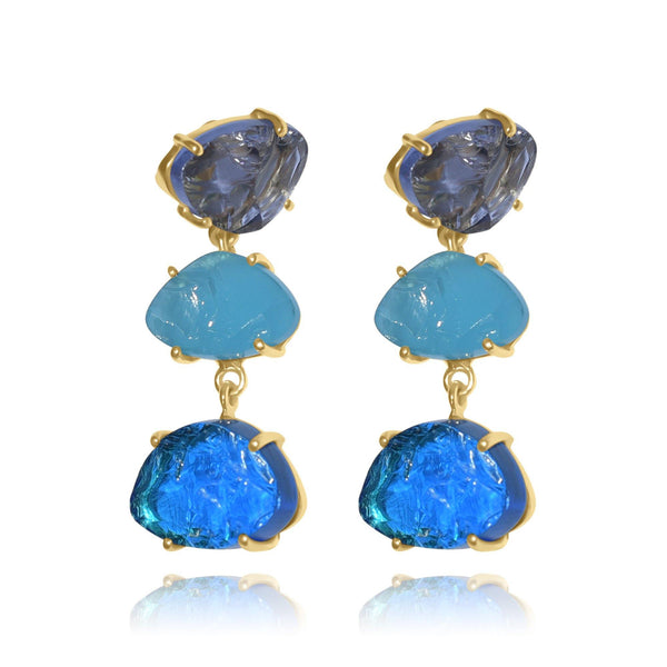 Hidden Treasure Aqua Amy Triple Earrings - Euro Sparkles