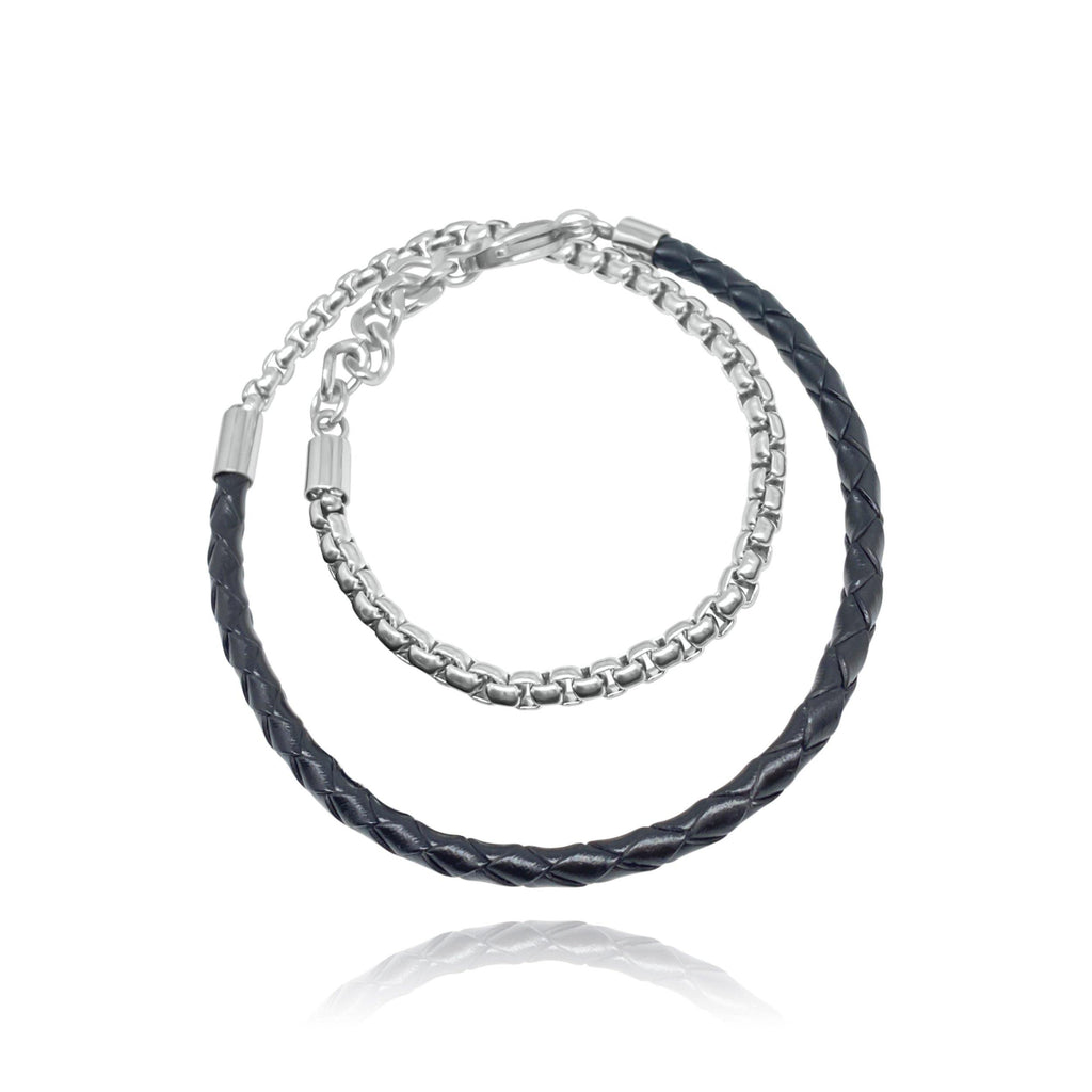 The Yahya Double Black Leather Men Bracelet - Euro Sparkles