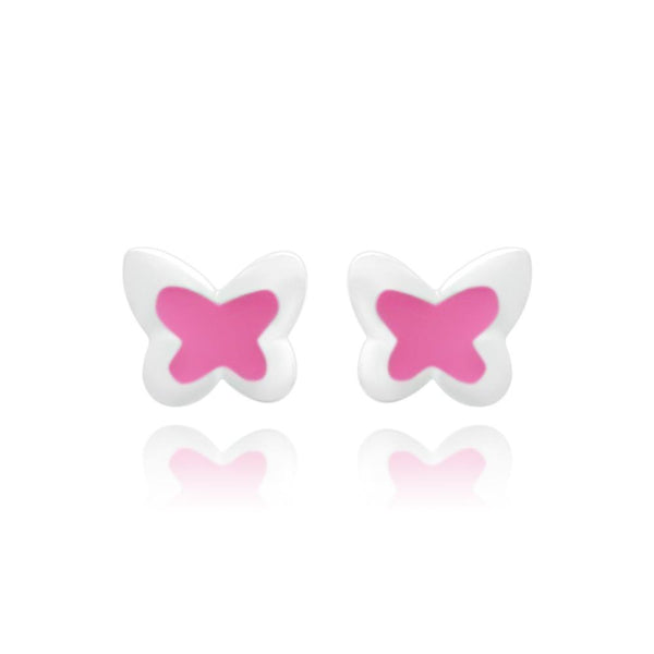 CC Pink Baby Butterfly Stud Earrings - Euro Sparkles
