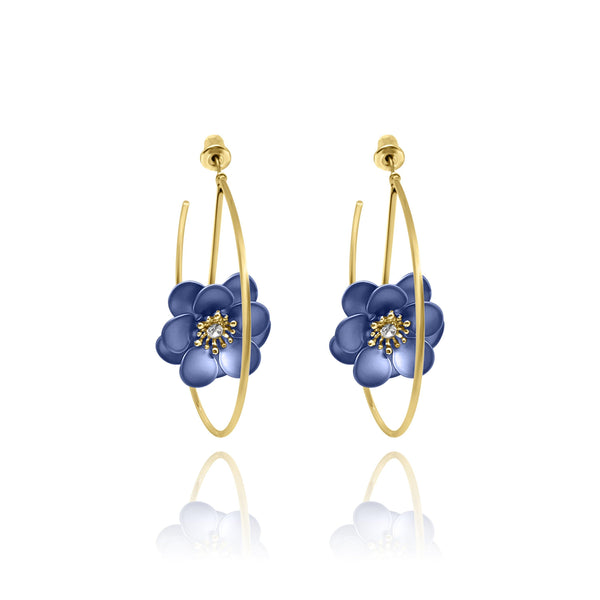 Las Flores Rose Hoop Earrings