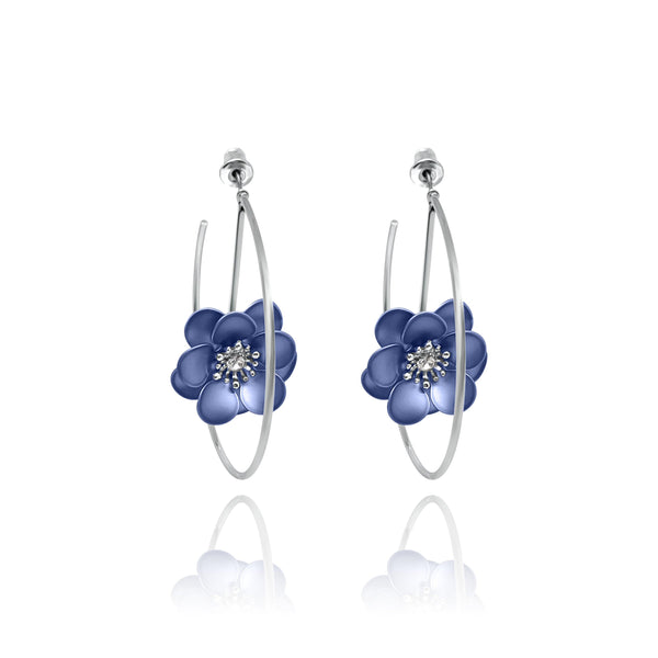 Las Flores Rose Hoop Earrings - Euro Sparkles