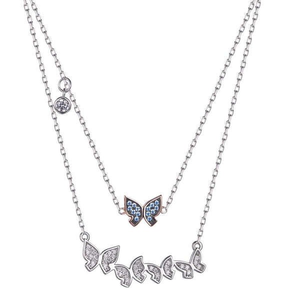Azure Double Butterfly Neclace - Euro Sparkles