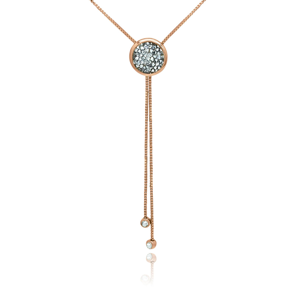 Eclat Rose Gold Druzy Quartz Long Necklace