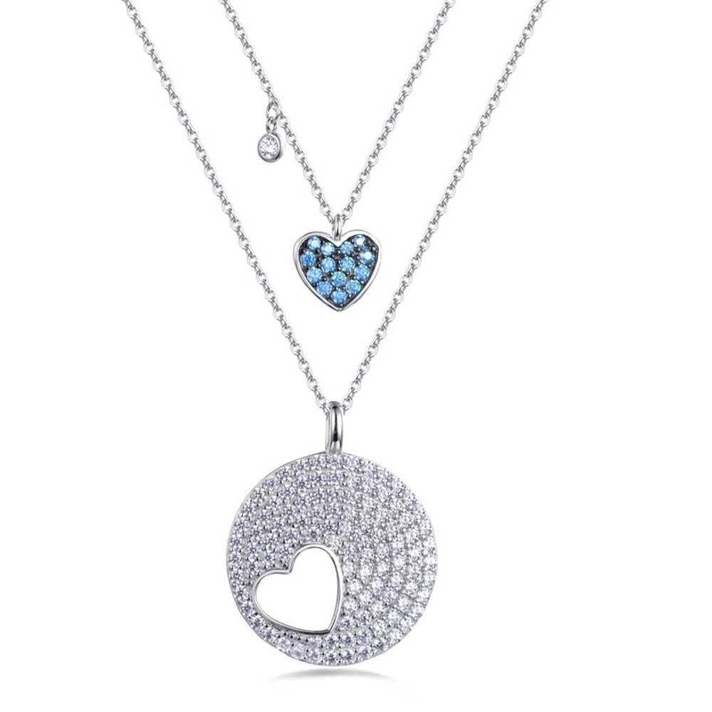 Double Azure Heart Necklace - Euro Sparkles