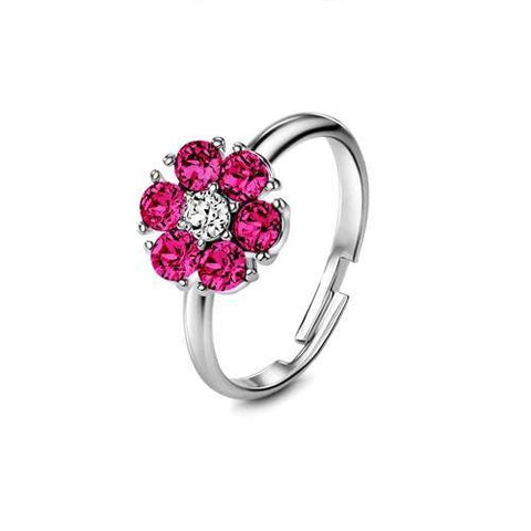 Flower Ring February (Amethyst) - Euro Sparkles