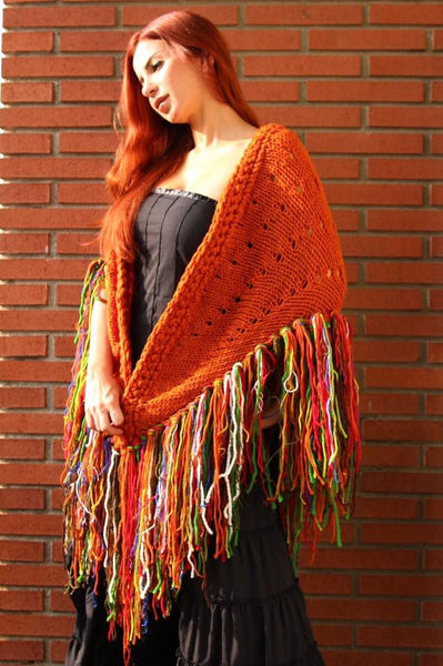 Fancina Salvaje Gypsy Fringe shawl Orange