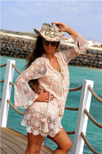 Laurie & Joe Crochet Kaftan Egypt Off White