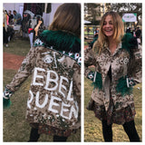 Rebellious Rasha 'Rebel Queen' Vintage Camo Jacket with Feathers & Trims available by order