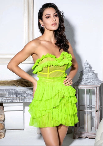 Neon Fluorescent Ruffles & Lace Designer Dress