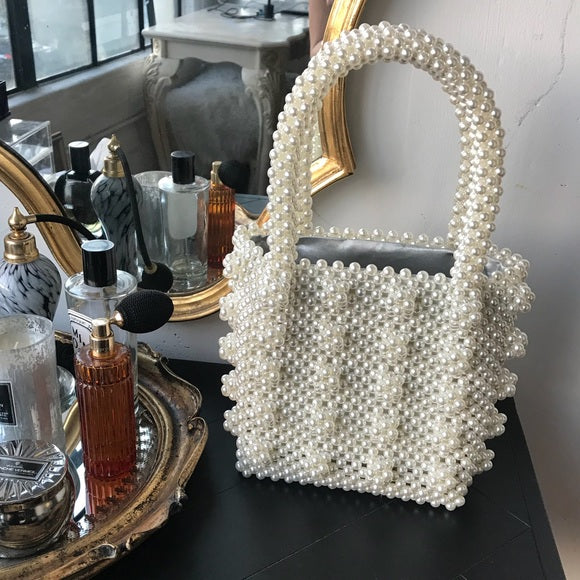 Rebellious Rasha Faux Pearl Beaded Bag