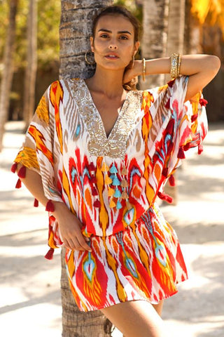 Miss June Short Dress Malaga Indian Red