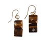 Tiger Eye Faceted Double Square Earrings