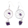 Amethyst Dreamcatcher Silver with Point Dangle Earring