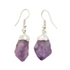 Amethyst Silver Plated Point Earrings