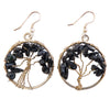 Assorted Stone Tree of Life Earrings - Silver