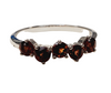 Garnet 5-stones Round Brilliant Cut Sterling silver ring