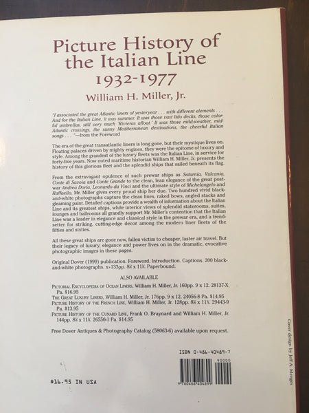 Picture History of the Italian Line by William H. Miller