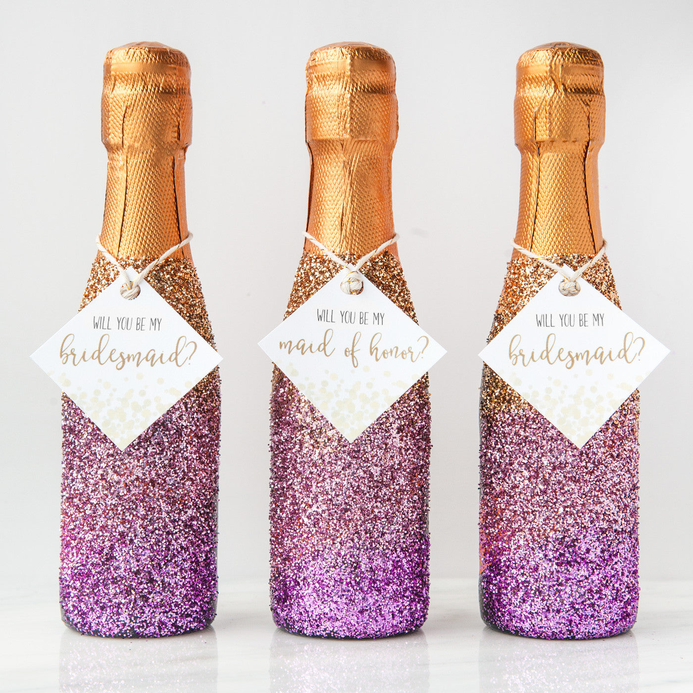 DIY Glitter Champagne Bottle Bridesmaid Proposal (with FREE printables!)