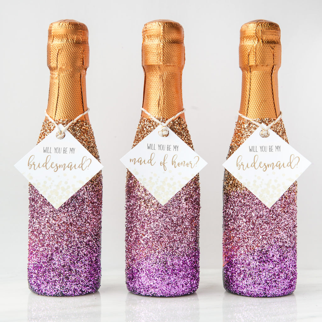 DIY Glitter Champagne Bottle Bridesmaid Proposal (with FREE ...