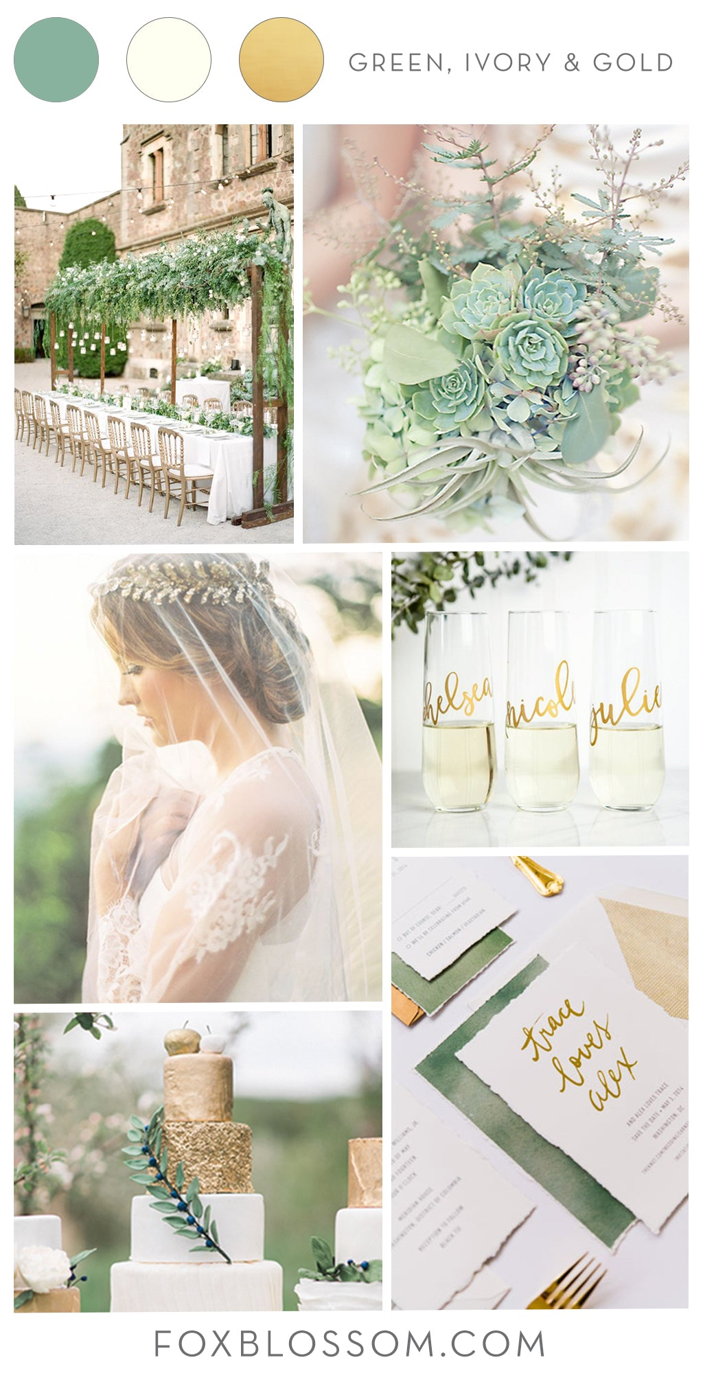 Green, Ivory & Gold Wedding Inspiration