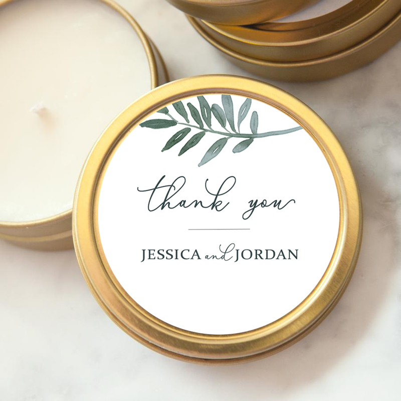 Custom Wedding Favor Candle - Botanical Thank You