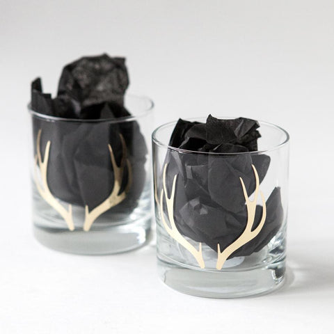 Set of Two Gold Antler Whiskey Glasses