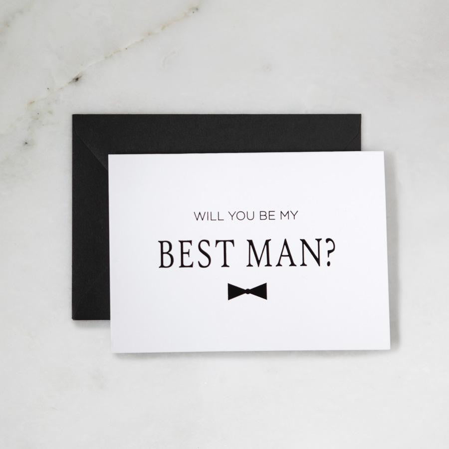 Be my best man matte black foil greeting card foxblossom co will you be my best man card best man proposals best man gifts m4hsunfo