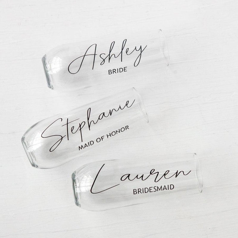 bridesmaid champagne glasses, stemless flutes, personalized bridesmaid gifts, unique bridesmaid proposal ideas, custom bridesmaid gift boxes, bridesmaid proposal ideas, wedding toast glasses
