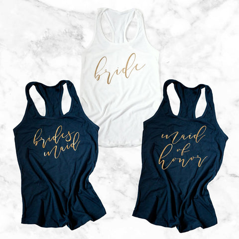 gold bridesmaid tank tops, bridal party apparel, bachelorette shirts, bridesmaid shirts