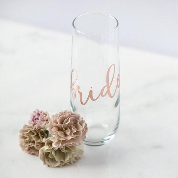 Bride Stemless Champagne Flute, Rose Gold Wine Glass, Bride Gifts