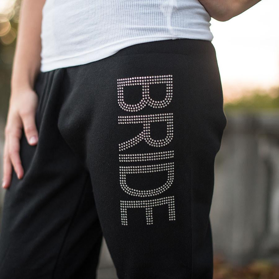 rhinestone bride pants close
